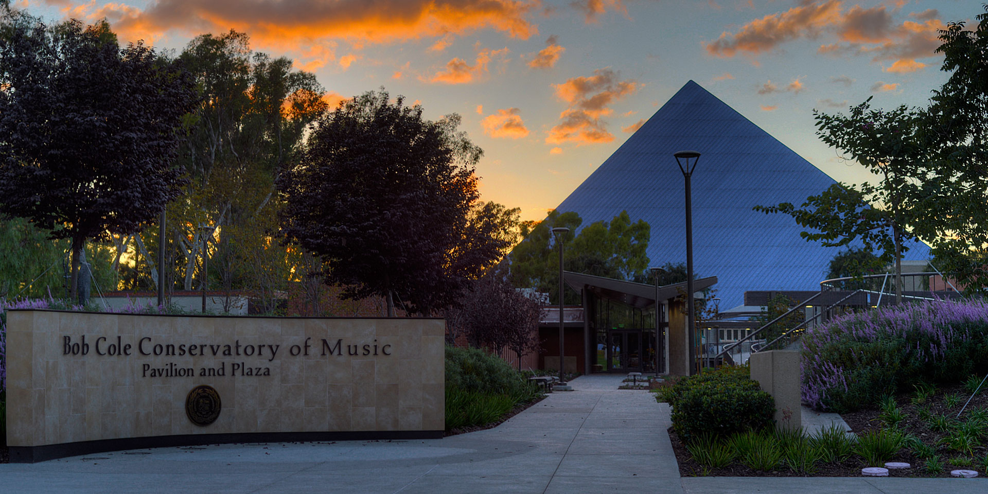 Bob Cole Conservatory Pavilion And Plaza Entrance At Sunset