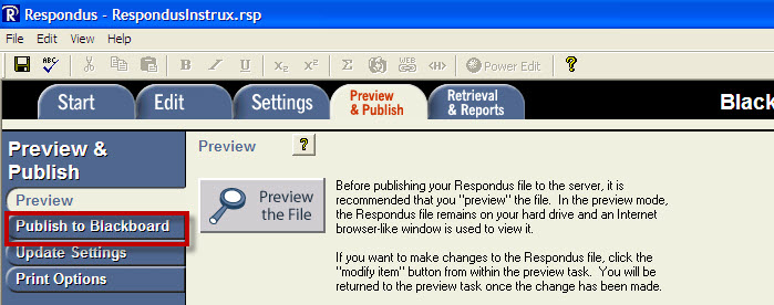 Publish to Blackboard