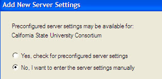 No I want to enter the server settings manually