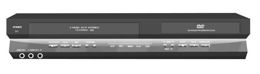 VCR and DVD combo in Smart Box hinged shelf