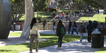 CSULB students walk on campus