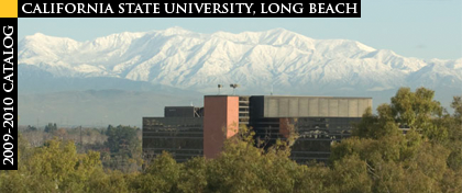 CSULB CBA Building with snow-covered mountains in the distance