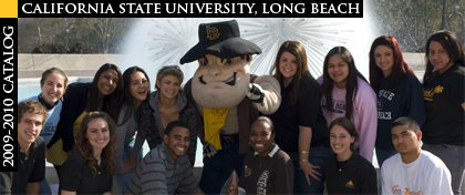 CSULB Students and 49er Mascot in front of CSULB fountain