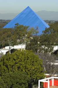 Aerial view of CSULB Campus with Pyramid in the background
