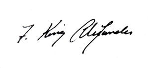 President F King Alexander Signature