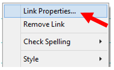 Insert link dialog box gives you the opportunity to make another selection regarding the type of link that is being inserted.