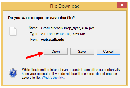 File Download dialog box gives you the opportunity to make another selection regarding what to be done with file.