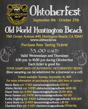 Oktoberfest Sept. 8th - Oct 27th