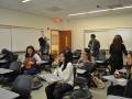 students settling in for presentation